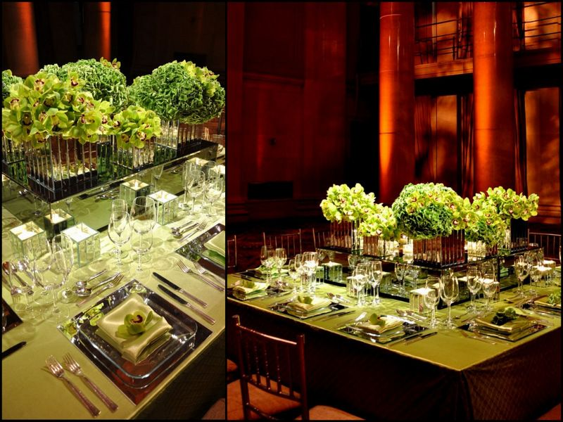 Holiday Party Decor Ideas Part - 26: Raised Flower Centerpieces - Great Idea On Square Tables