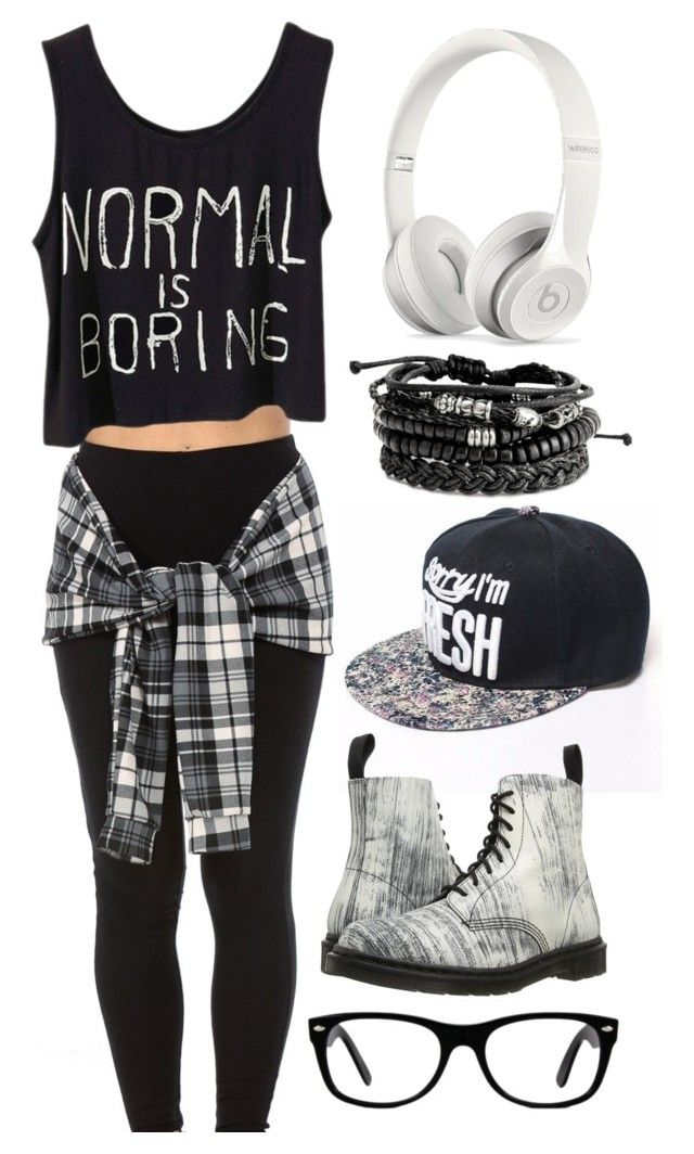 """Untitled #23"" by the-random-girlig on Polyvore featuring Dr. Martens, Ray-Ban and Beats by Dr. Dre"