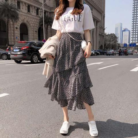 2019 Summer Women Midi Skirts Korean Boho Bohemian Ruffles Ladies Beach Holiday Polka Dot Layer Flare High Waist Skirt For Women 10