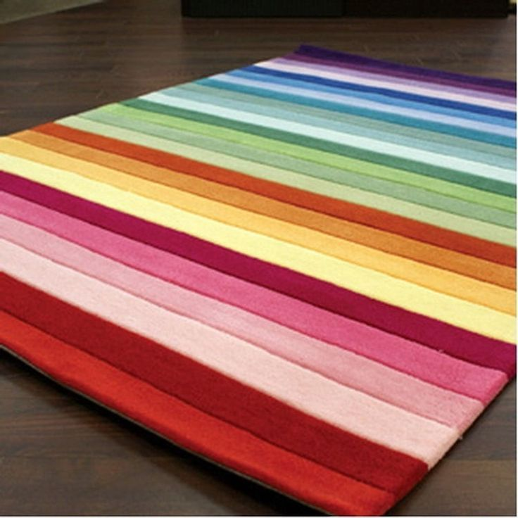 Rainbow Colourful Stripe Floor Rug Mat By Designer Kids Available At Mega Mart Australia