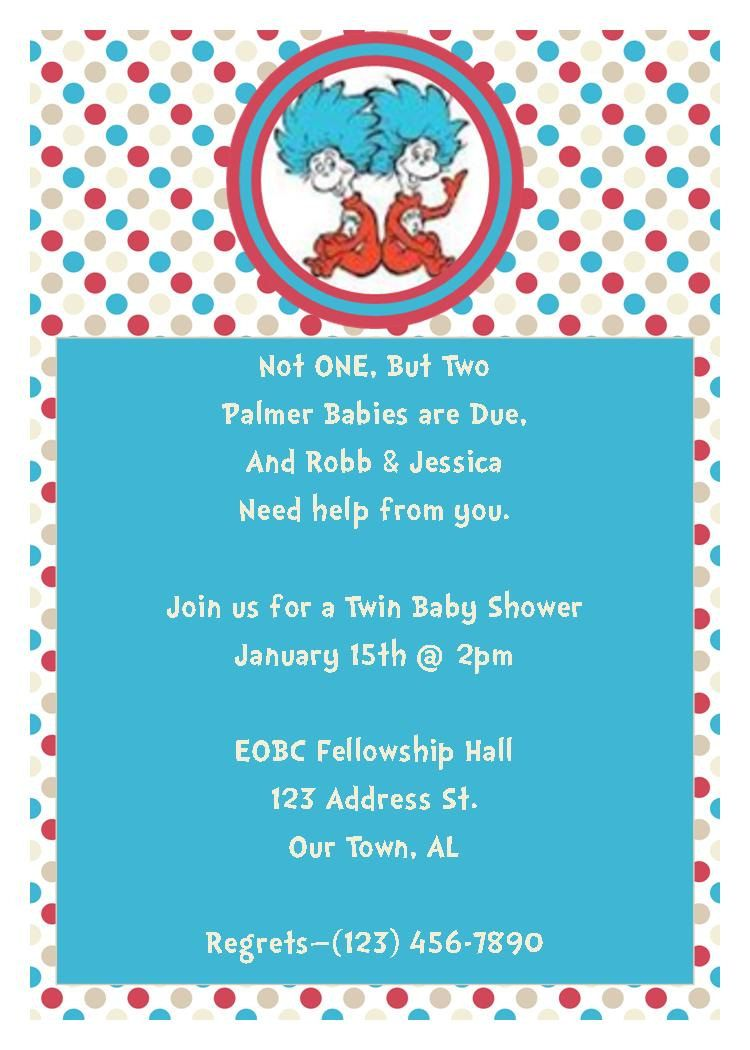 Thing 1 Thing 2 Baby Shower Invitation Great for Twins or ...