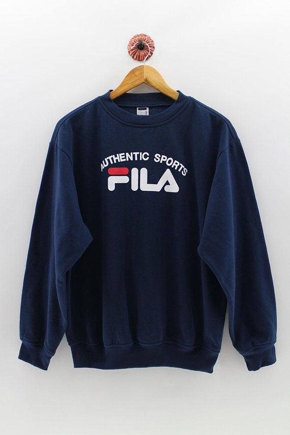 FILA Crewneck Sweater Mens Fila Italia Biella Pullover Sweatshirt Fila  Authentic Sports Big Logo Str cd56a3c6184