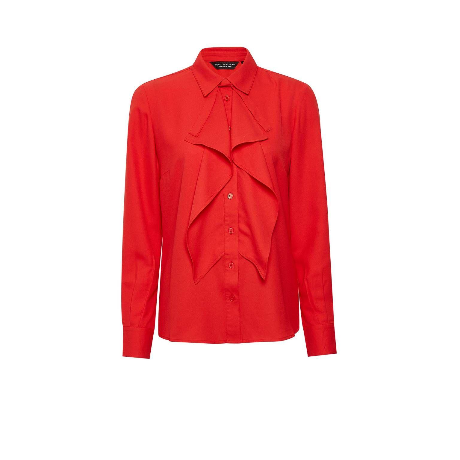 Dorothy perkins red ruffle front shirt debenhams long