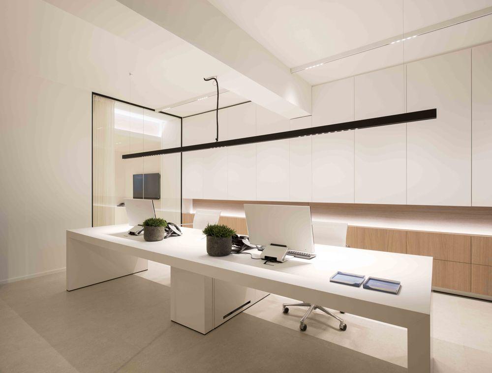 Architects office design minimalist wood desk lighting led design kreon tools of light nuit pendant profile