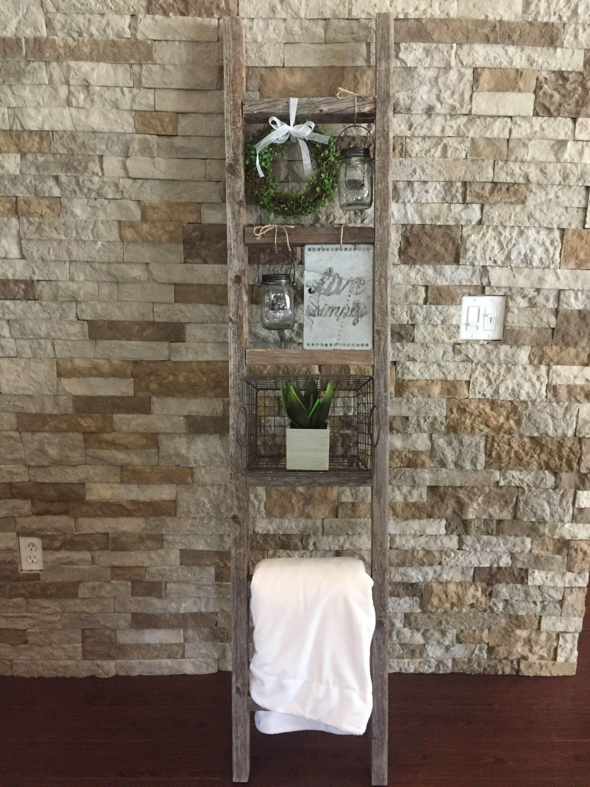My Diy Project Is Complete Rustic Wood Ladder Decor I Got The Ladder On Amazon And Everything Else At Mi Wood Ladder Decor Rustic Ladder Decor Ladder Decor