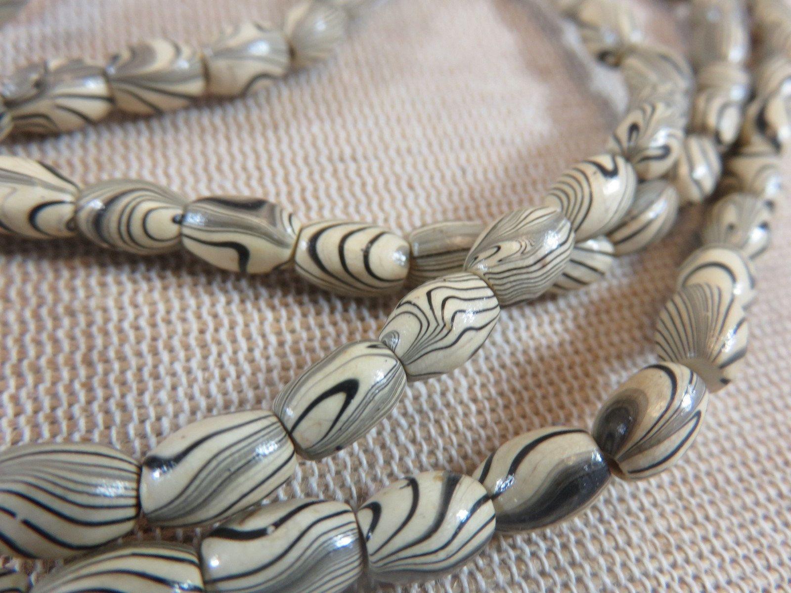 20 Perles Ovale Bois Zebre 8mmx6mm Ensemble De 20 Perles Tonneau