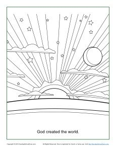 God Created The World Coloring Page Sunday School Coloring Pages Creation Coloring Pages Bible Coloring Pages