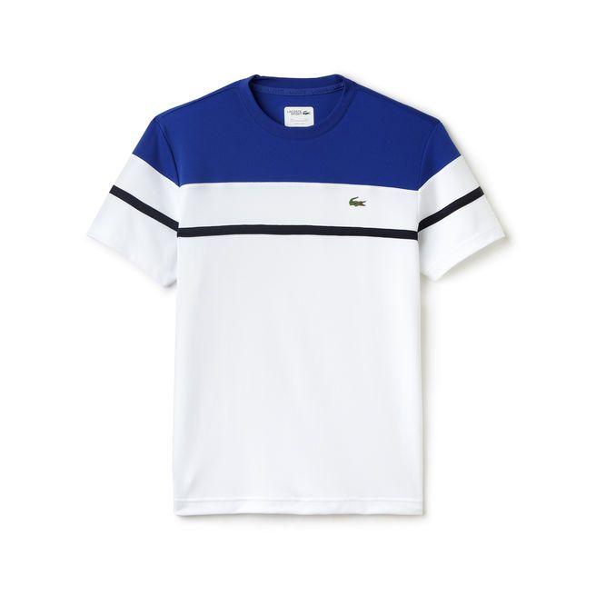 Tennis Lacoste SPORT crew neck t-shirt in color block print ultra-dry piqué