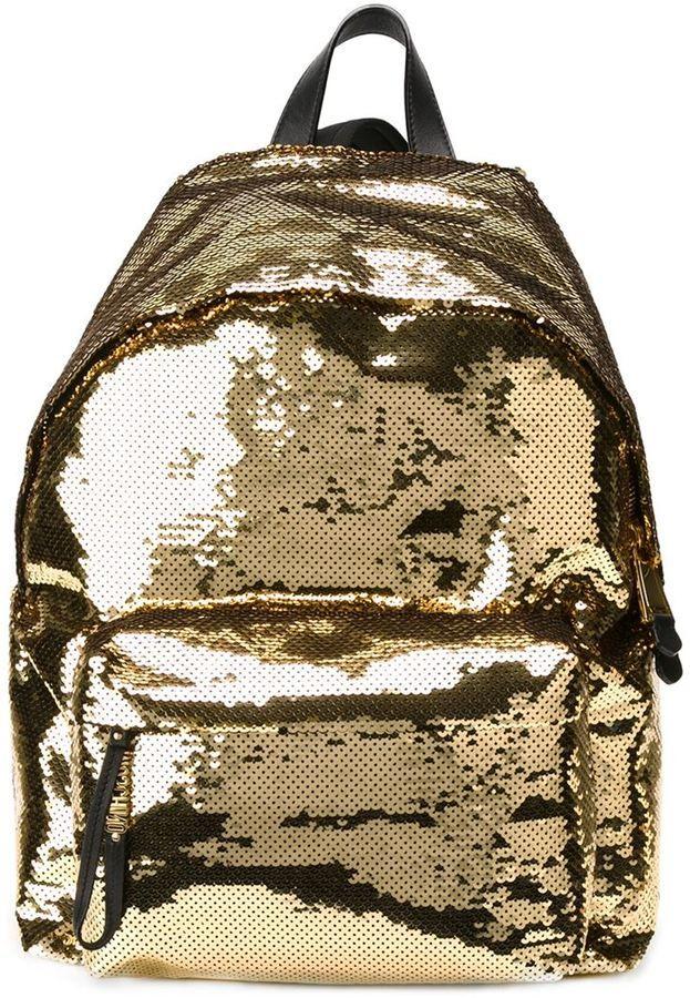 f14fe13e5c6 Moschino sequinned backpack   Golden ERA..   Moschino bag, Brown ...
