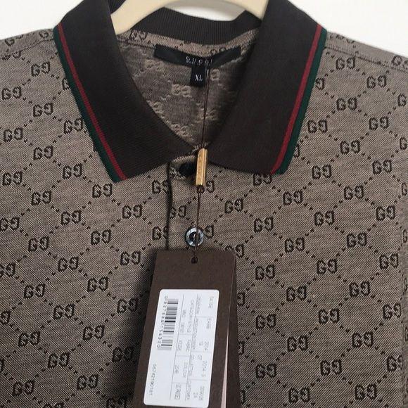 7ca3fbb88 💯Gucci Men s Polo Shirt  GG Print Brown XL   NWT Gucci Mens Brown ...