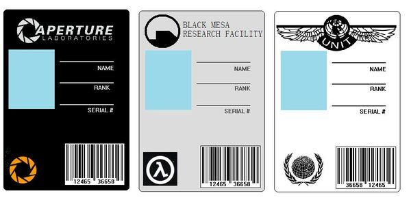 Id Cards Set 1 By Badwolf42 On Deviantart Aperture Science Card Set Portal Game