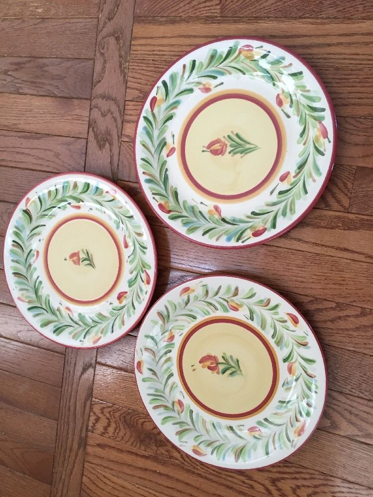 Southern Living At Home Gail Pittman Siena Dinner Plates Lot Of 3 Garland  Border