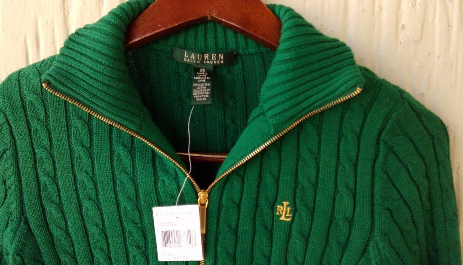 New Ralph Lauren Womens Cable Knit Full Zip L S 100 Cotton