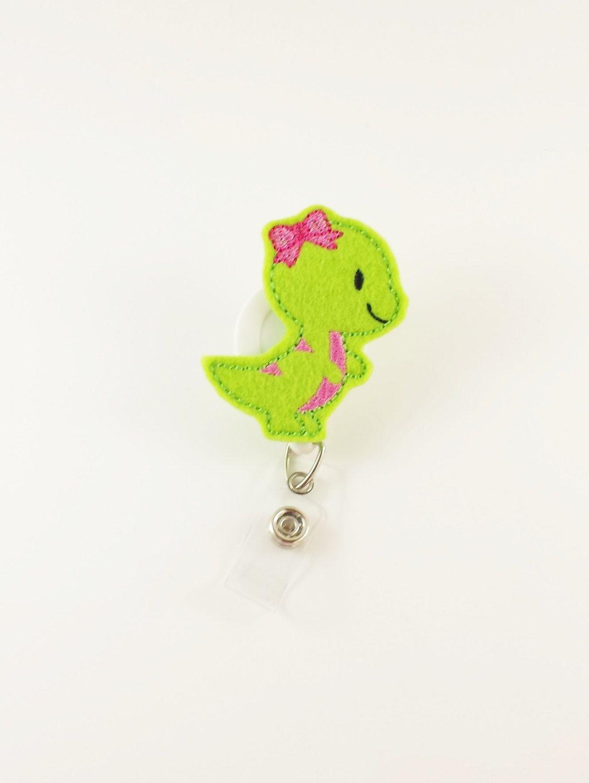 Girl Dinosaur - Felt Badge Reel - Nurse Badge Clip - Retractable ID