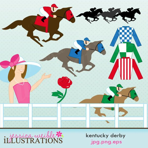 Kentucky Derby Comes With 10 Graphics Including 3 Horses Jockey Riders A Rose Jerseys Fence Lady In Big Hat