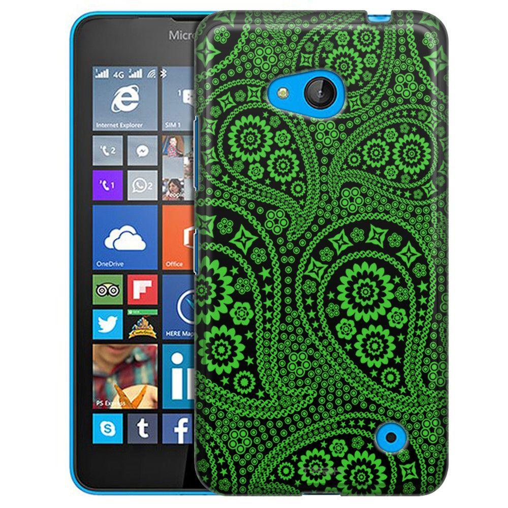Nokia Lumia 640 Paisley Green and Flowers on Black Slim Case