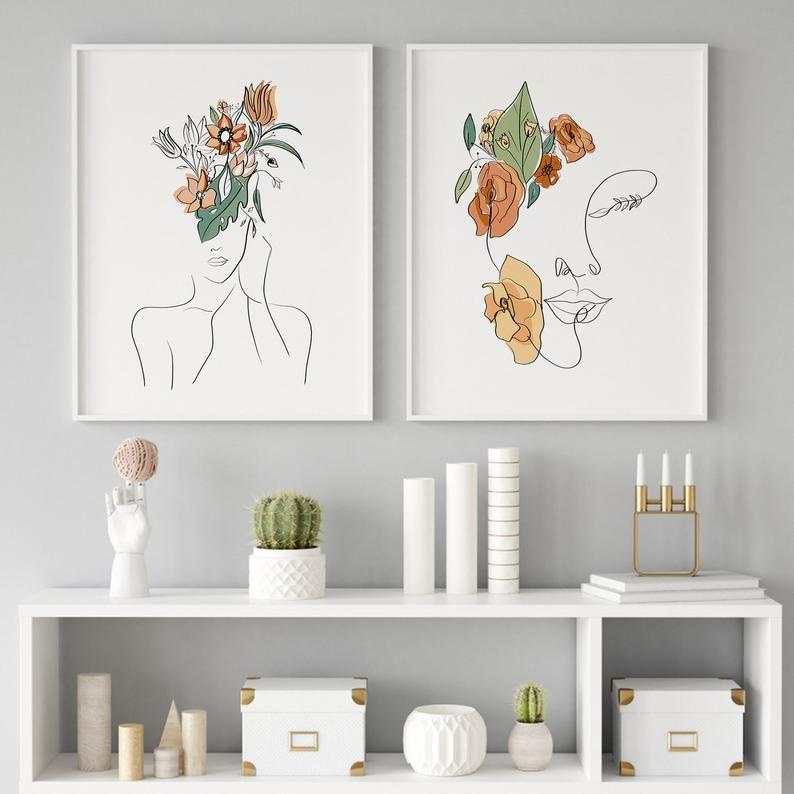 Woman Line Art Print Set of 2 Woman Line Drawing Wall Art   …