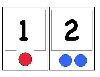 number flashcards to work on number identification, number matching and rote counting