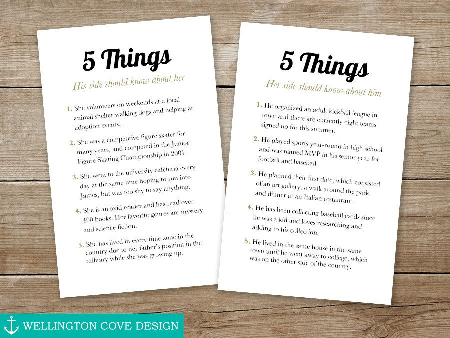 c0838542f79b 5 Things About the Bride and Groom • This printable is great for a  rehearsal dinner