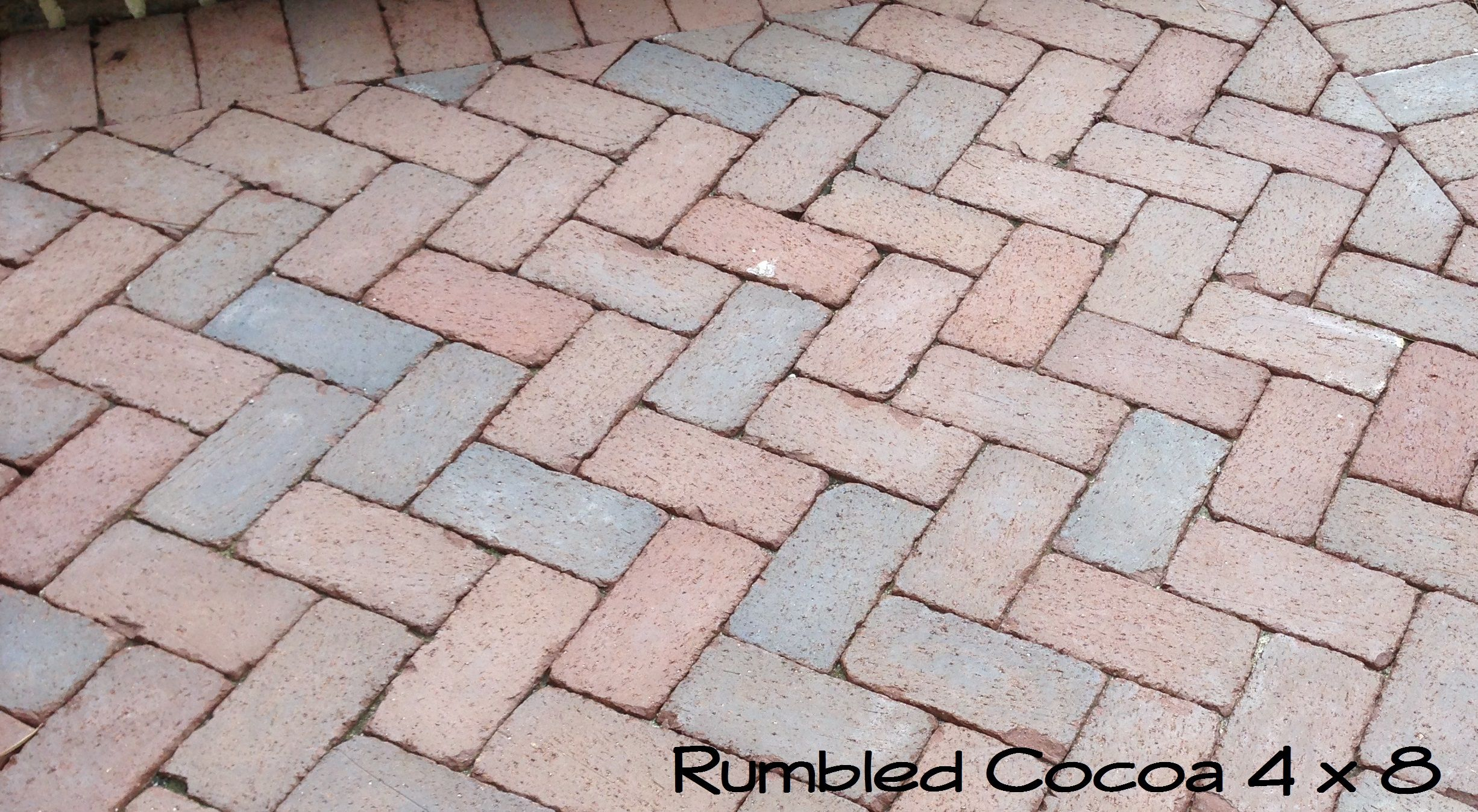 Mixed Brown And Rose Tones Predominate In This Rumbled Cocoa Patio Laid In A Herringbone Pattern With A Solider Border Made By Perfect Patio Back Patio Patio