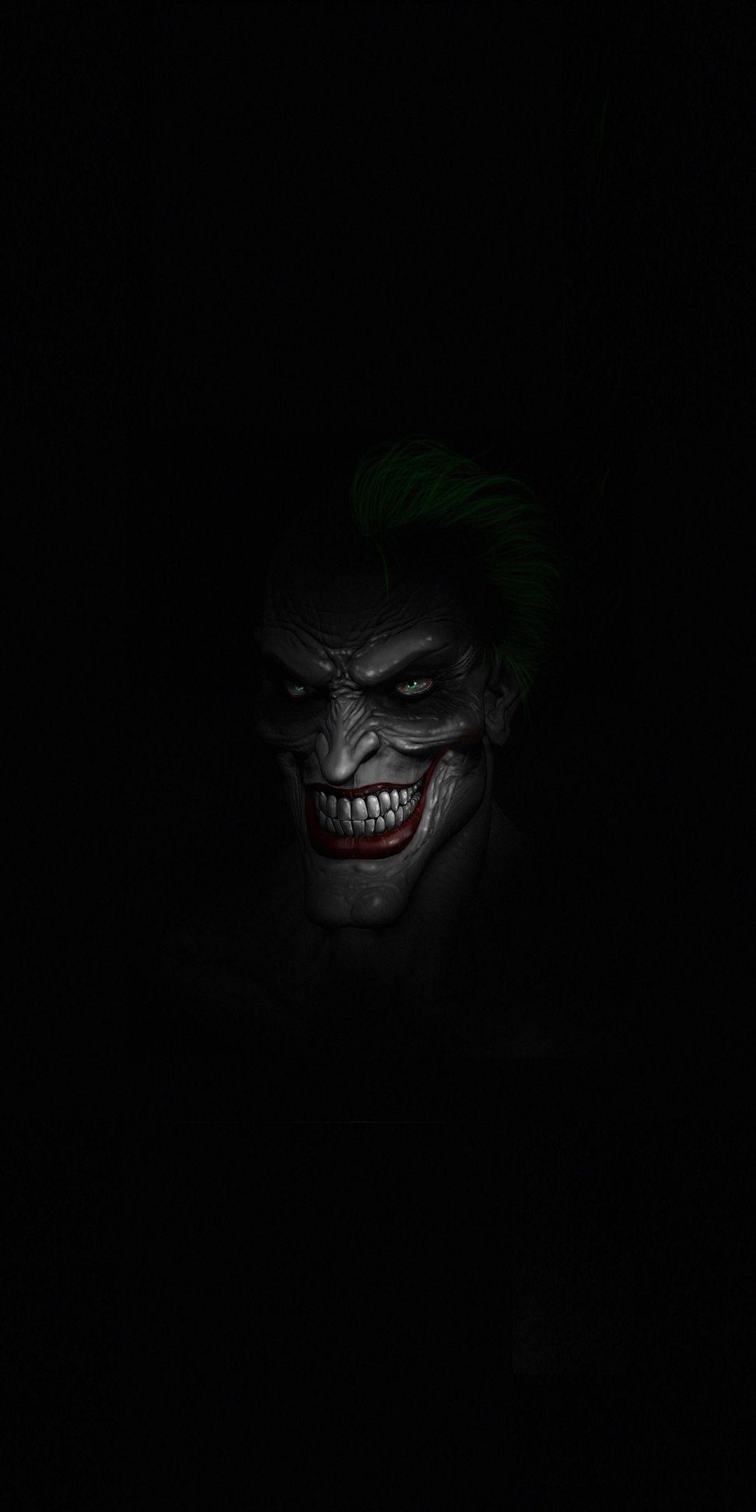 Joker's face, dark, minimal, 1080x2160 wallpaper