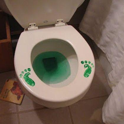 St. Patrick's Day Fun: Leprechaun Footprints on Toilet