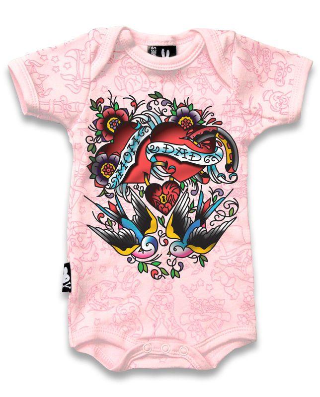 I Love My Dad And His Tattoos Pink Kids T Shirt Biker Punk Tattoo Alternative