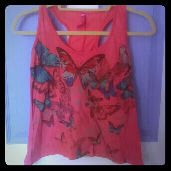 Peach Butterfly Racerback Top ?OFFERS ACCEPTED!? Fading is intentional (as shown in picture 2) Tops Tank Tops