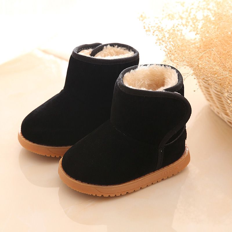 2017 Baby Kids Boy Girl PU Leather   Snow Boots Fur Lined Winter Warm Shoes