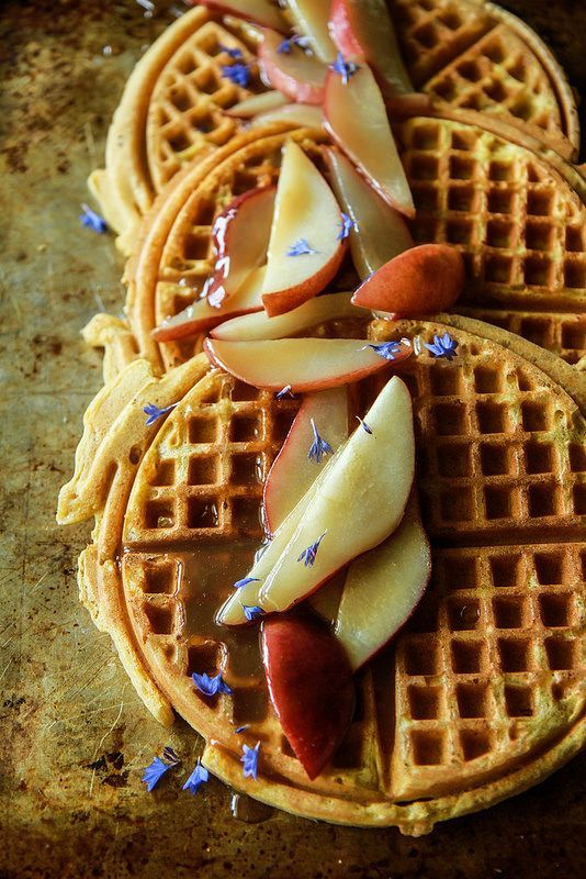 Pumpkin Waffles with Caramelized Pears vegan and gluten