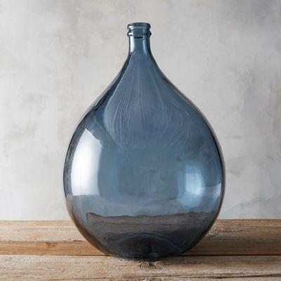 Recycled Glass Demijohn Vase Blue Glass Vase Vase Recycled Glass