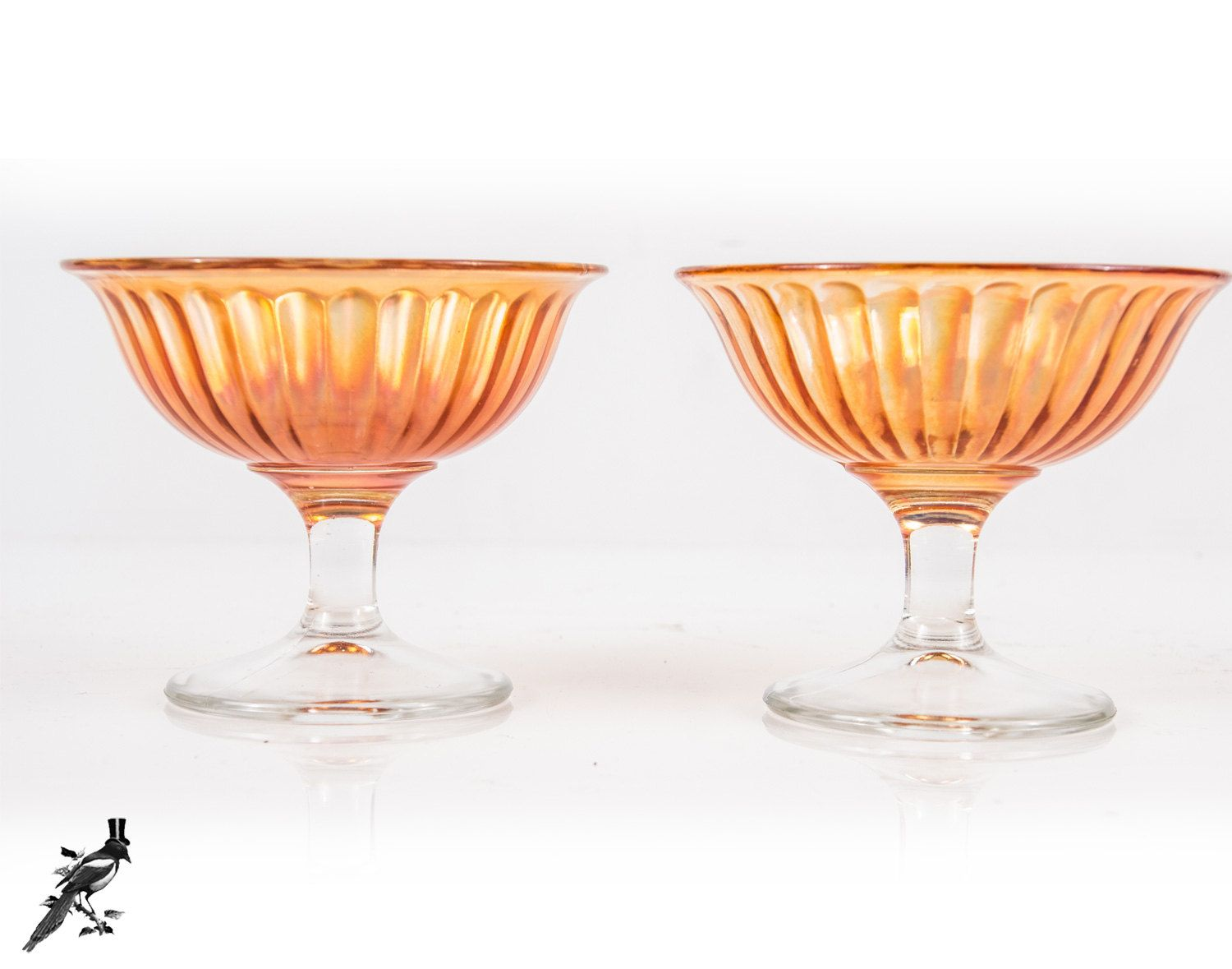 TheCordialMagpie on Etsy: Vintage Pair of Champagne Coupes / Tall Sherbet Glasses - Marigold Imperial Glass Co Carnival Glass Iridescent Depression Glass Smooth Rays