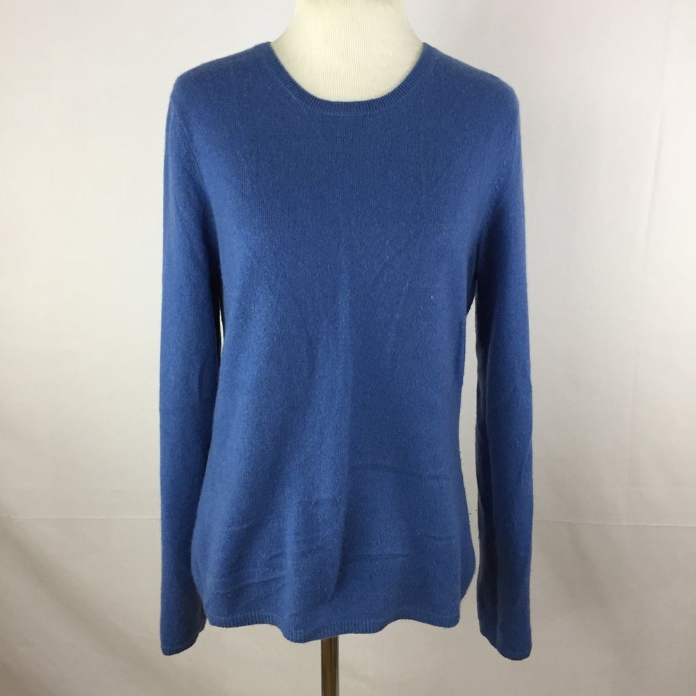 Fiona L Large 100% 2 Ply Cashmere Sweater Crew Neck Light Blue ...
