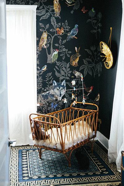 Wallpaper Defines A Nursery Corner | Small space nursery, Small ...