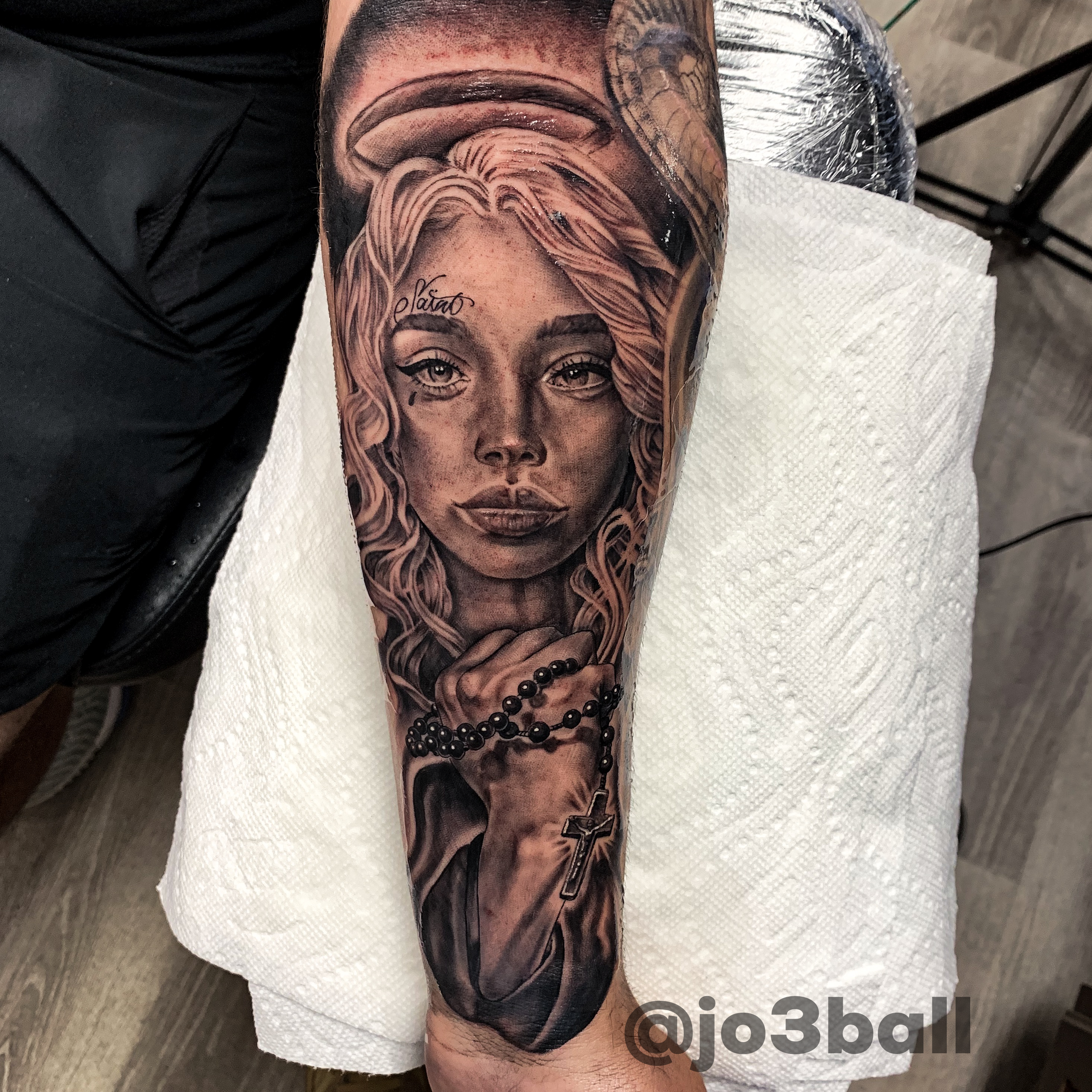 Girl Angel Tattoo  #rosarybeadtattoo Black and Grey Portrait of Angel Holding Rosary beads Tattoo #rosarybeadtattoo