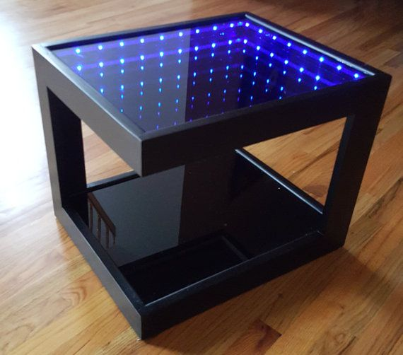 Black Coffee Table With Cool Illusion Lights Featuring Infinity Mirror Effect Black Coffee Tables Infinity Table Infinity Mirror