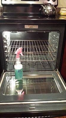 Oven/Shower cleaner. Spray on, leave over night. Wipes easily out! Into a spray bottle mix: 2 oz. Dawn Dishwashing liquid 4 oz. Lemon Juice 8 oz. White Vinegar 10 oz. Water