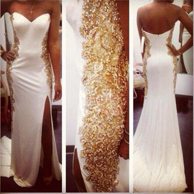 White And Gold Embellishment Wedding Reception Dress Gold Prom Dresses Prom Dresses Dresses
