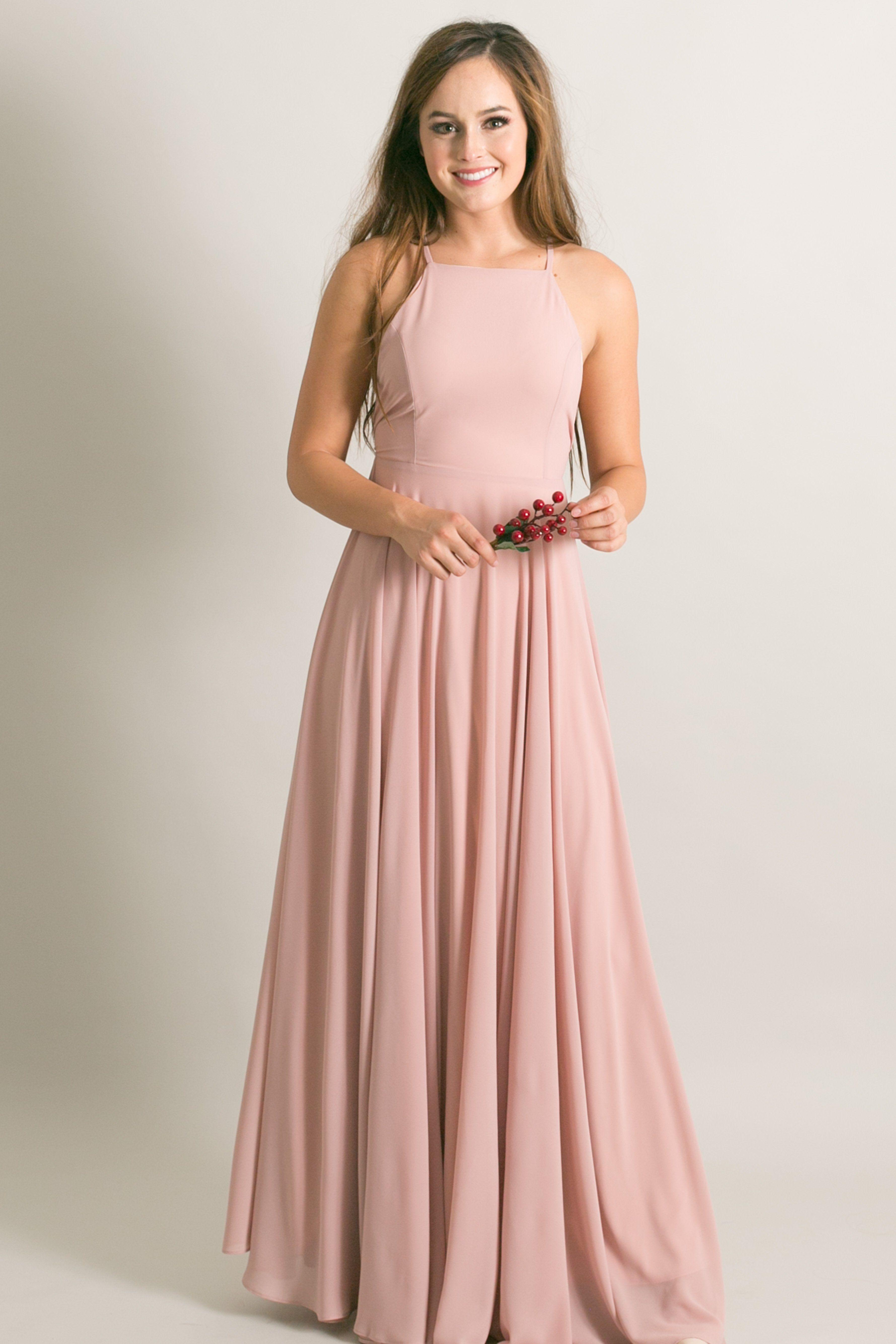 Payton Dusty Millennial Pink Flowy Maxi Dress