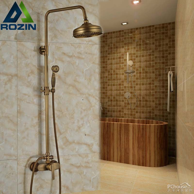 108 96 Buy Traditional Wall Mount Antique Shower Set Faucet Two Handle Adustable Height Mr88 From Reliable Fa Shower Faucet Sets Shower Set Faucet