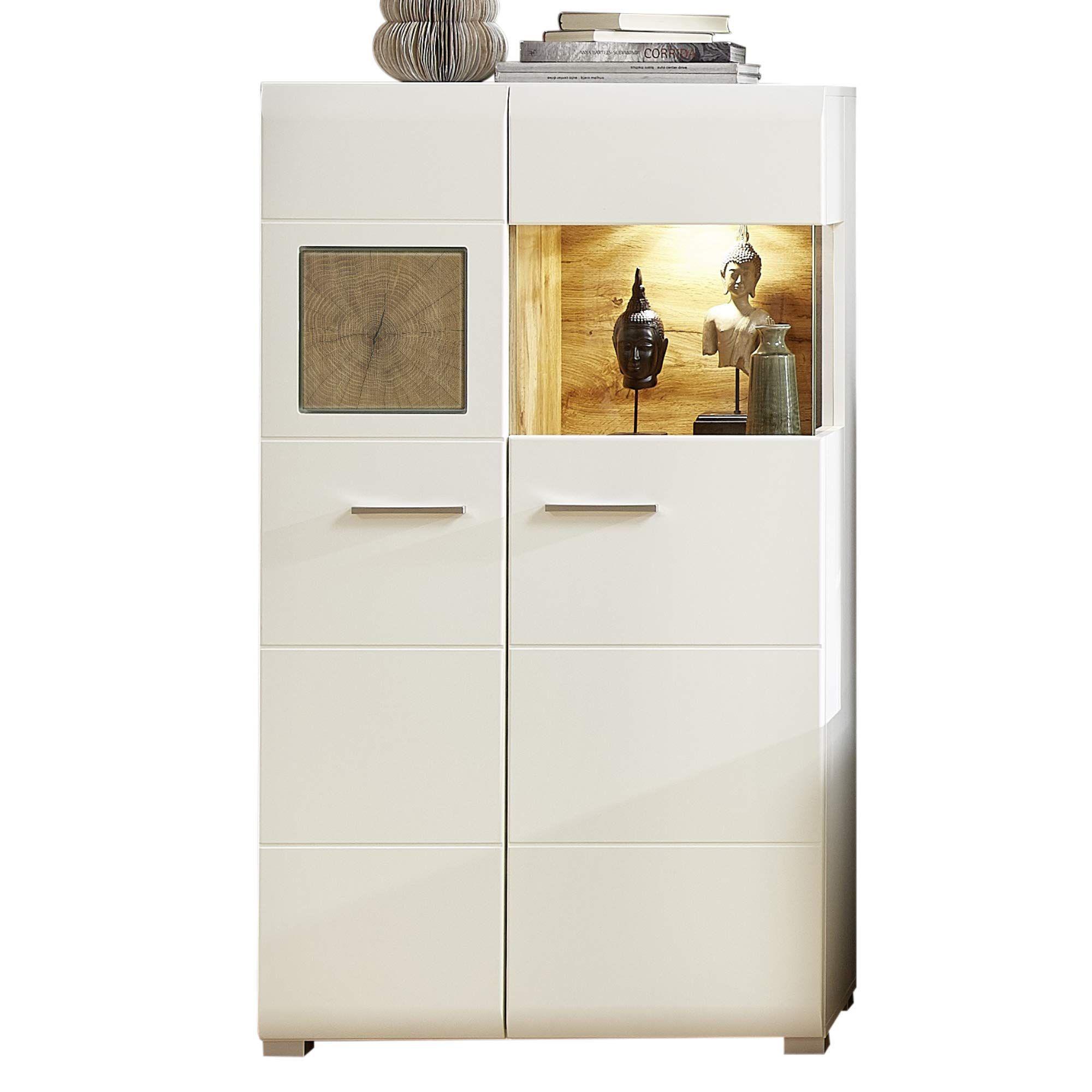 Fun Plus Kleine Vitrine Weiss Mit Sch Nen Hirnholz Applikationen Moderne Glasvitrine Inkl Led Beleuchtun In 2020 Tall Cabinet Storage Locker Storage Storage Cabinet