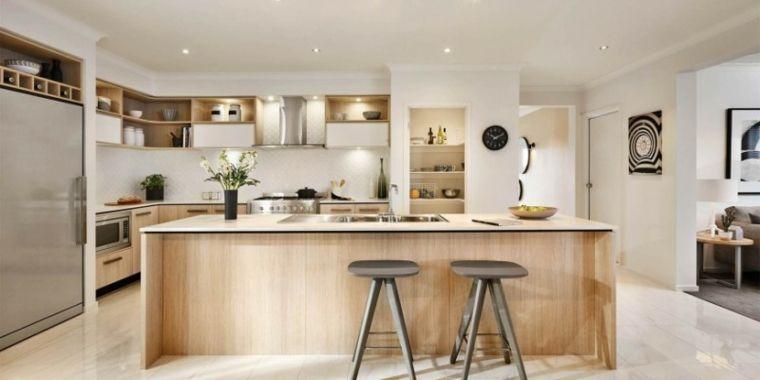 bonita cocina con isla de madera laminada home Pinterest - cocinas con isla