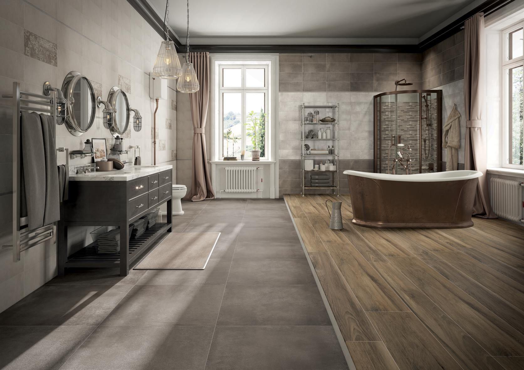 Un bellissimo bagno dal gusto classico e shabby chic a - Rivestimento bagno shabby ...