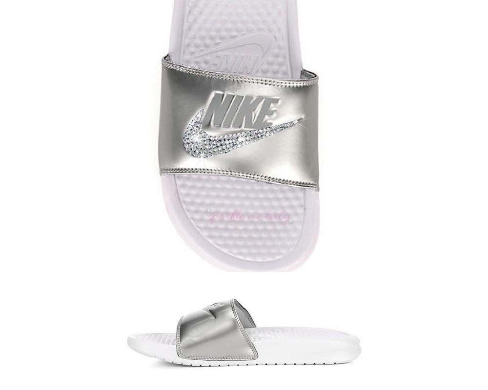 e550dc6bd260 Nike Benassi JDI Silver   White Women s Slides  bling  nike  bedazzled   benassi  jdi  customized by  sparklemebaby2u
