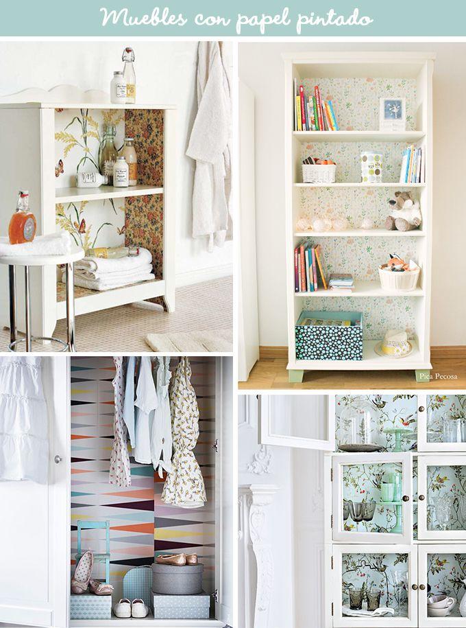 Ideas para restaurar una mesita de noche antigua decoraci n pinterest papel pintado - Restaurar muebles con papel ...
