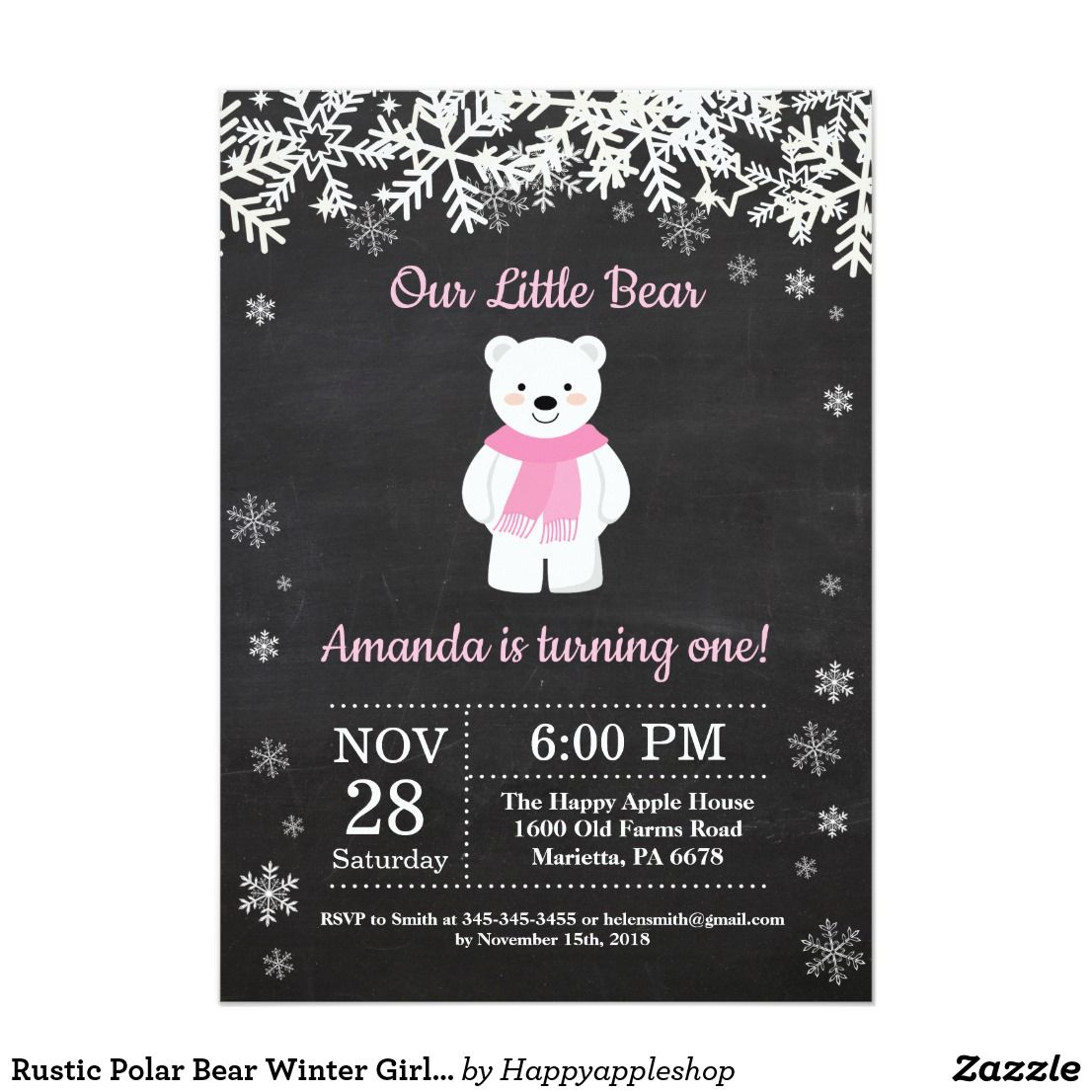 Rustic Polar Bear Winter Girl Birthday Invitation Boy