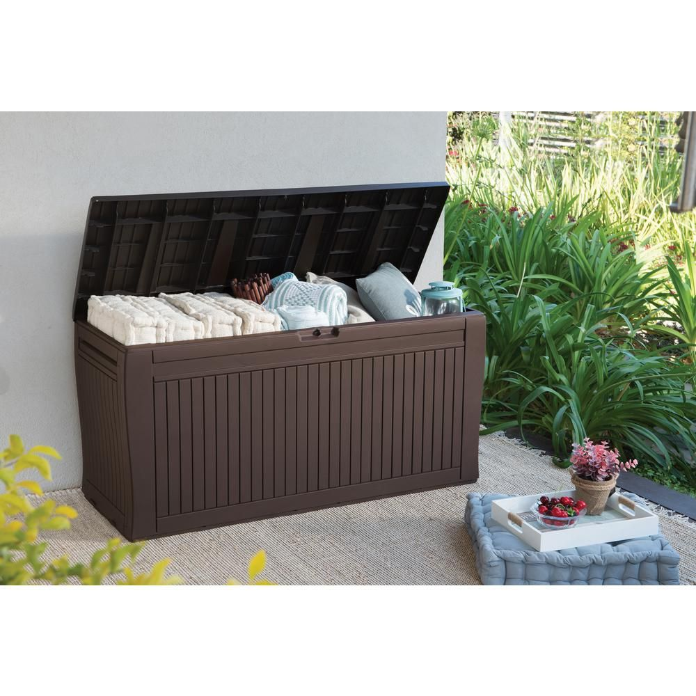 Keter Comfy 71 Gal Resin Deck Box 231319 The Home Depot Outdoor Storage Outdoor Deck Storage Box Outdoor Storage Boxes