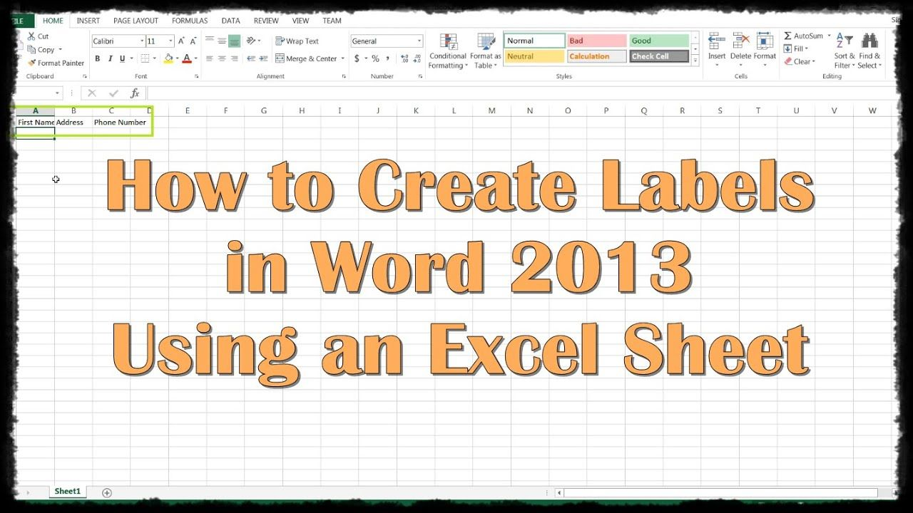 How To Create Labels In Word 2013 Using An Excel Sheet