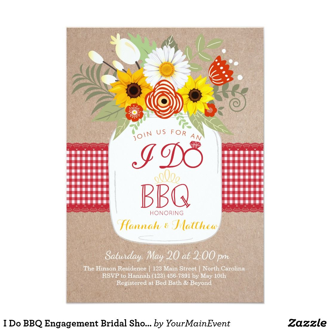 I Do BBQ Engagement Bridal Shower Invitation. | Mason Jar Wedding ...