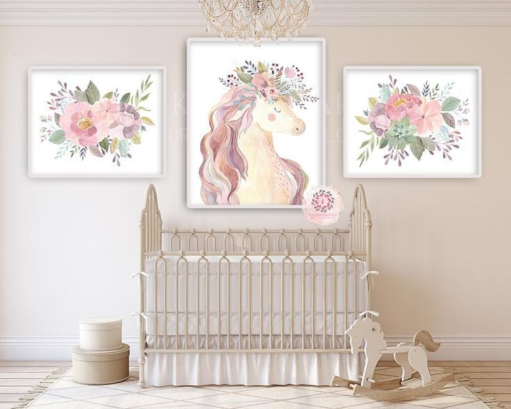 Photo of 3 Boho Blush Unicorn Wall Art Print Baby Girl Nursery Ethereal Fantasy Watercolo…